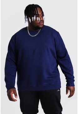 Navy Plus Size Basic Sweatshirt