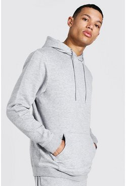 Tall Recycled Regular Fit Hoodie, Grey marl