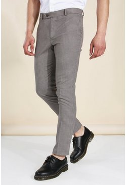 Brown Skinny Dogtooth Trouser