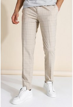 Beige Slim Pleat Front Biege Check Trouser
