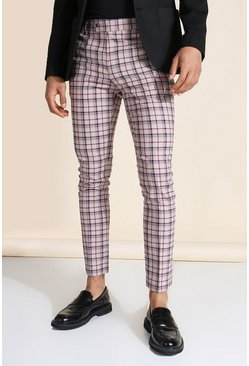 Super Skinny Beige Check Trouser