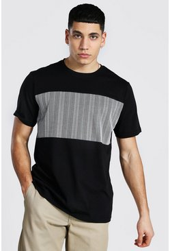 Jacquard Stripe Contrast Panel T-shirt, Black