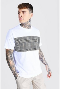 White Jacquard Check Contrast Panel T-shirt
