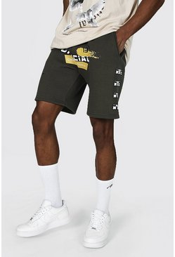 Regular Official Man Varsity Jersey Shorts, Green