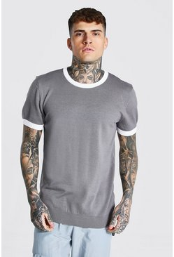 Grey Knitted T-shirt With Contrast Trims