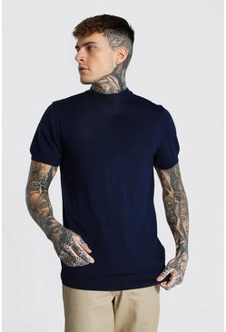 Navy Short Sleeve Turtle Neck Knitted T-shirt