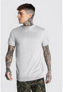 Grey marl Short Sleeve Turtle Neck Knitted T-shirt