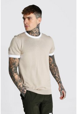 Beige Knitted T-shirt With Contrast Trims