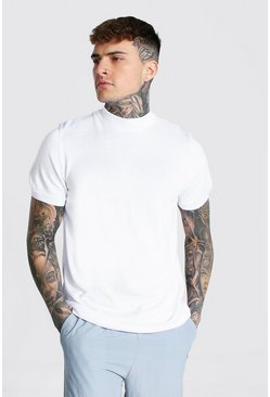White Short Sleeve Turtle Neck Knitted T-shirt