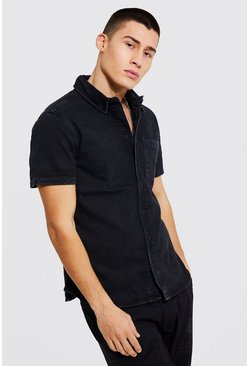 Washed black Muscle Fit Short Sleeve Denim Shirt