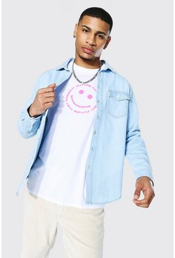 Light blue Regular Raglan Denim Shirt