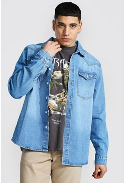 Mid blue Regular Long Sleeve Western Denim Shirt