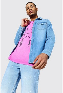 Mid blue Regular Raglan Denim Shirt