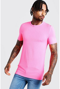 T-shirt côtelé Muscle Fit, Rose néon, Homme