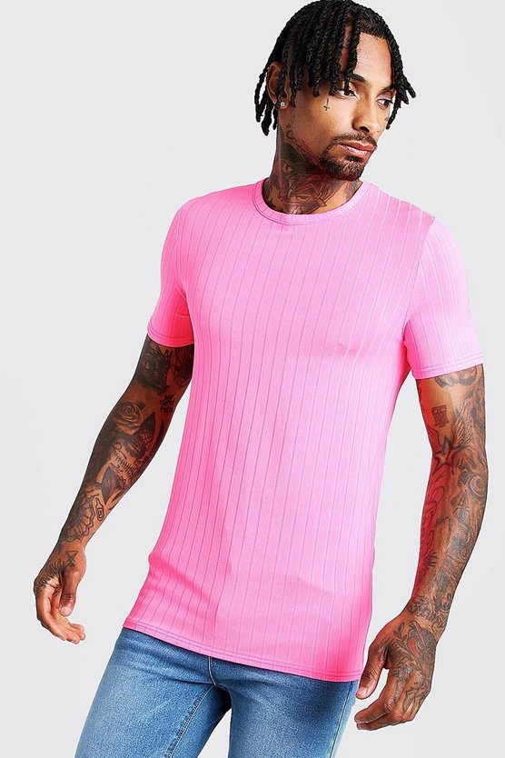 Mens Neon-pink Muscle Fit Rib T-Shirt