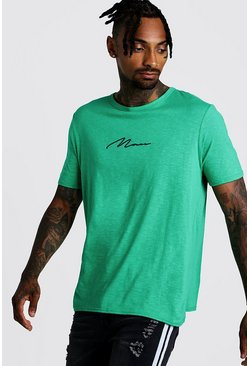 Mens Green MAN Signature Slub T-Shirt