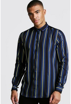 Mens Black Vertical Stripe Long Sleeve Shirt