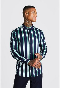 Mens Black Green Stripe Long Sleeve Shirt