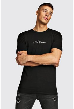 MAN Signature T-Shirt in Muscle Fit, Schwarz