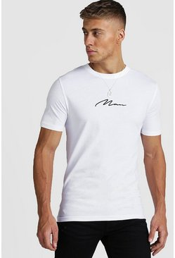 White Muscle Fit MAN Signature T-Shirt