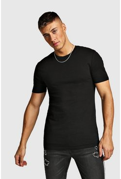 Muscle-Fit Rundhals T-Shirt, Schwarz