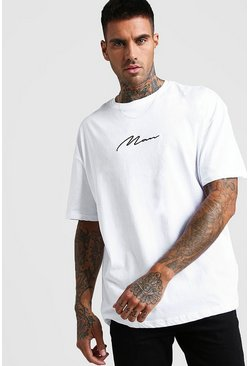 White Oversized MAN Signature T-Shirt