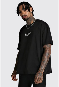 Black Oversized Original MAN Print T-Shirt