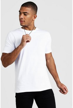Mens White Basic Crew Neck T-Shirt