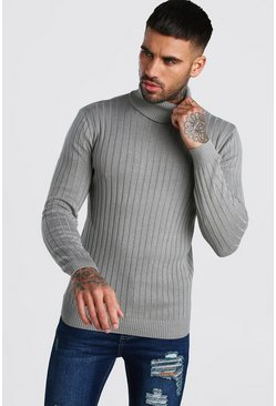 Grey Regular Long Sleeve Ribbed Knitted Roll Neck Sweater