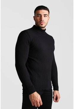 Black Regular Long Sleeve Ribbed Knitted Roll Neck Jumper