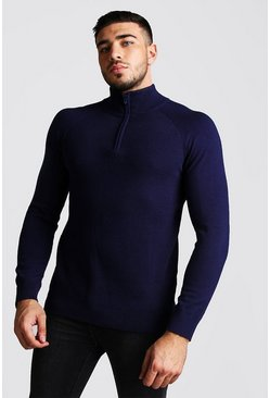 Mens Navy Regular Fit Half Zip Turtle Neck Knitted Jumper