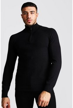 Black Regular Fit Half Zip Turtle Neck Knitted Sweater