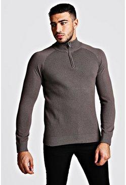 Grey Regular Fit Half Zip Turtle Neck Knitted Sweater