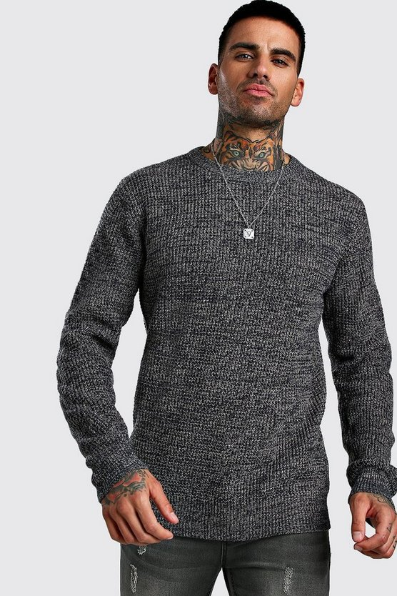 Mens Navy Regular Fit Crew Neck Fisherman Knitted Jumper