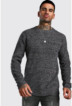 Navy Regular Fit Crew Neck Fisherman Knitted Sweater