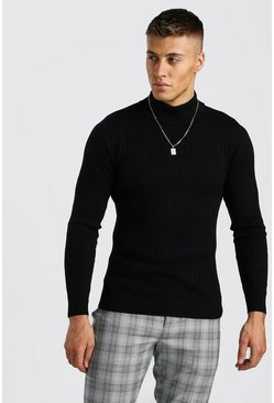 Black Regular Fit Long Sleeve Knitted Turtleneck Sweater