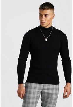Black Regular Fit Long Sleeve Knitted Turtleneck Sweater