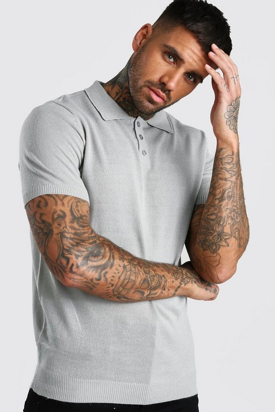 Kurzärmeliges Poloshirt aus Strick in Regular Fit, Grau, Herren