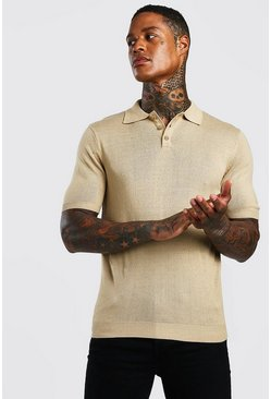 Taupe Regular Fit Short Sleeved Knitted Polo