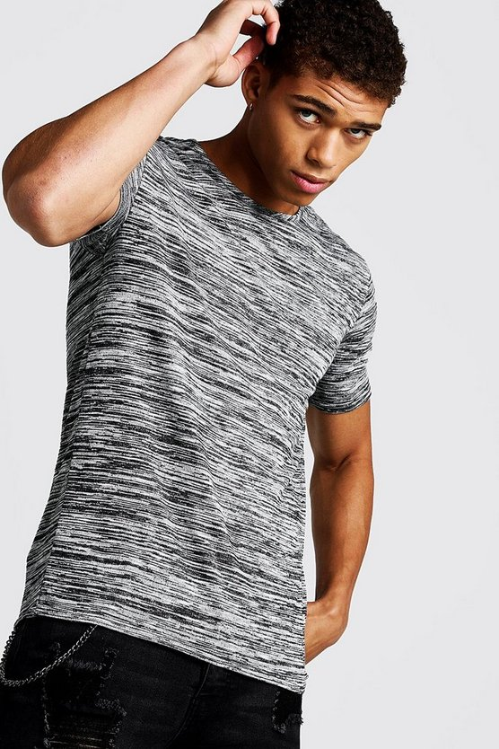 Grey Muscle Fit T-Shirt In Melange
