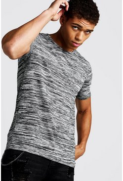 Mens Grey Muscle Fit T-Shirt In Melange