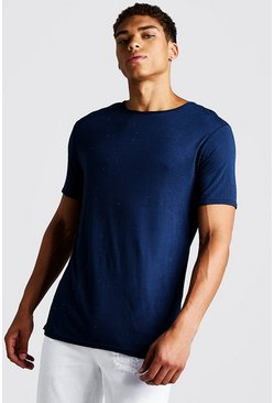 Mens Navy Muscle Fit Nepped T-Shirt