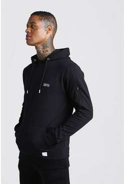 Mens Black MAN Active Muscle Fit Hoodie With Seam Detail