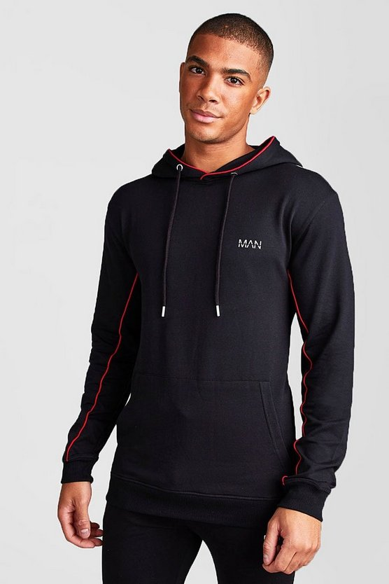 Mens Black MAN Active Muscle Fit Hoodie With Piping Detail