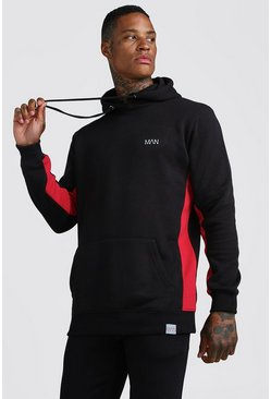 Mens Black MAN Active Longline Hoodie With Panels