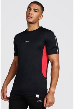 Mens Black MAN Active Muscle Fit T-Shirt With Panelling