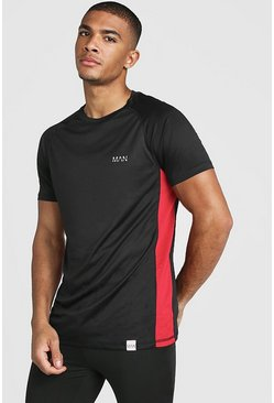 T-shirt raglan à empiècements en maille MAN Active Muscle Fit, Noir, Homme