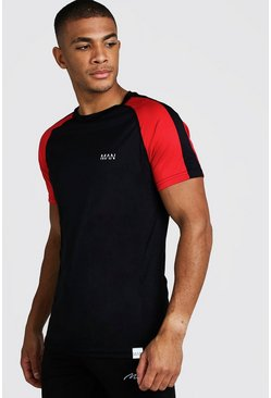 T-shirt colour block MAN Active Poly, Noir, Homme