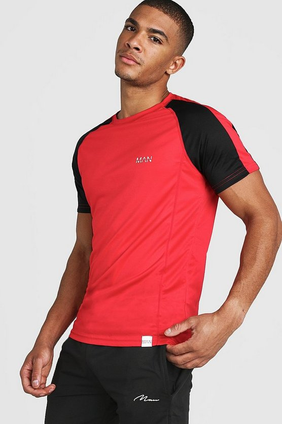 Mens Red MAN Active Poly Colour Block T-Shirt