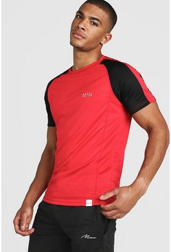T-shirt colour block MAN Active Poly, Rouge, Homme